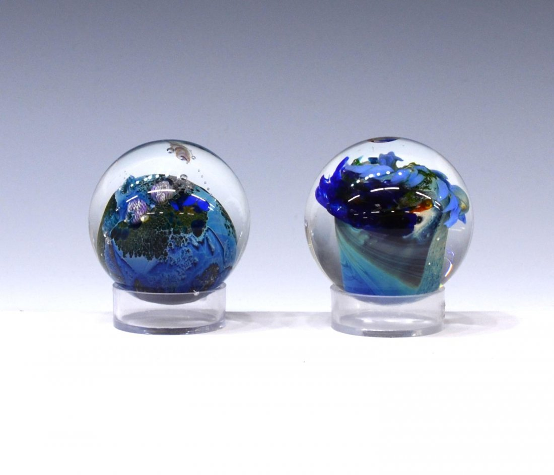 (3) JOSH SIMPSON ART GLASS PLANET PAPERWEIGHTS - 6