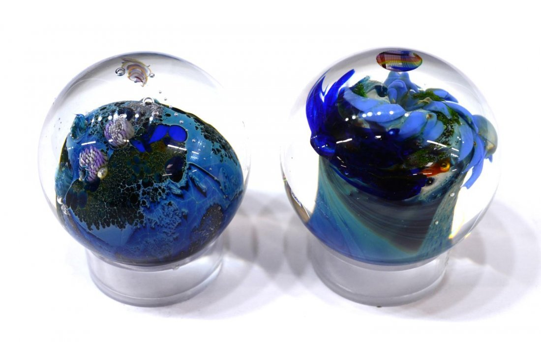 (3) JOSH SIMPSON ART GLASS PLANET PAPERWEIGHTS - 7