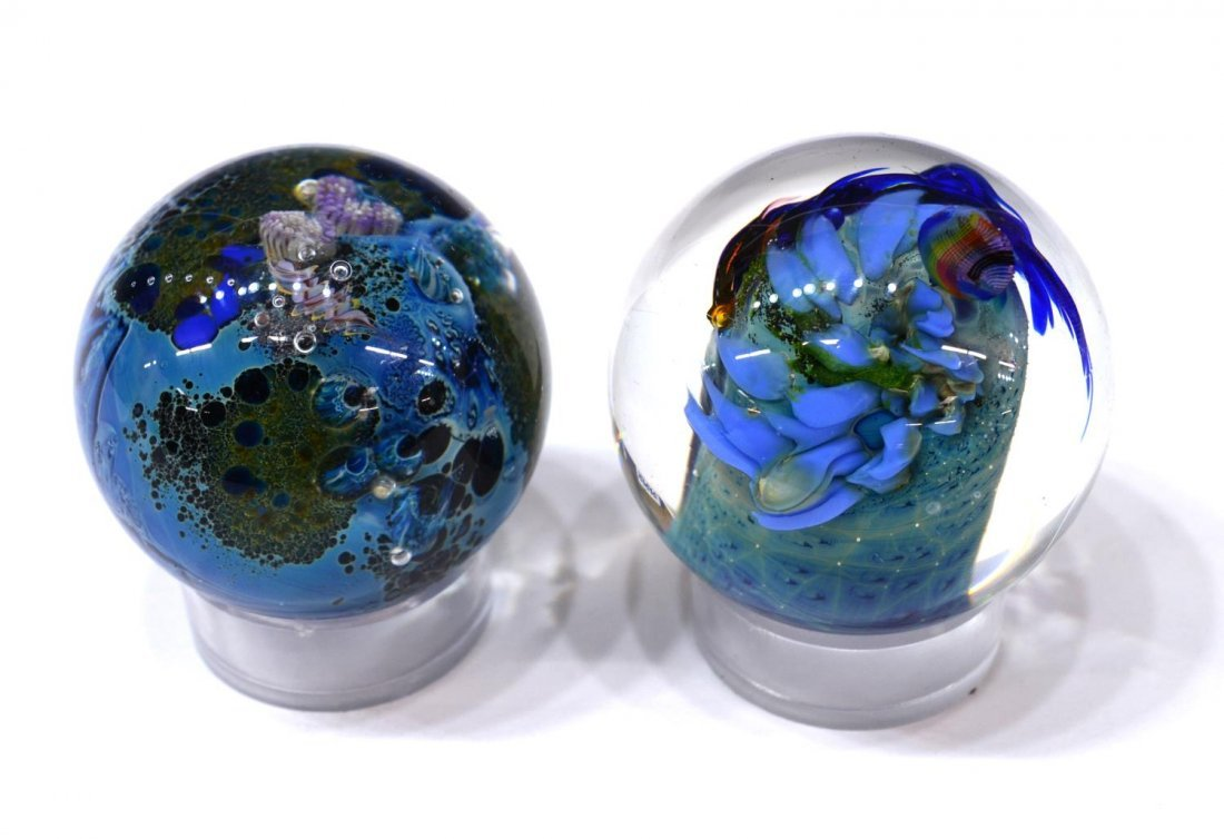 (3) JOSH SIMPSON ART GLASS PLANET PAPERWEIGHTS - 8