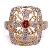 LADIES 14KT GOLD DIAMOND  GEMSTONE ESTATE RING