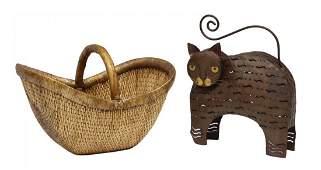 (2) ARTISAN PIERCED CAT CANDLE LAMP & WOVEN BASKET