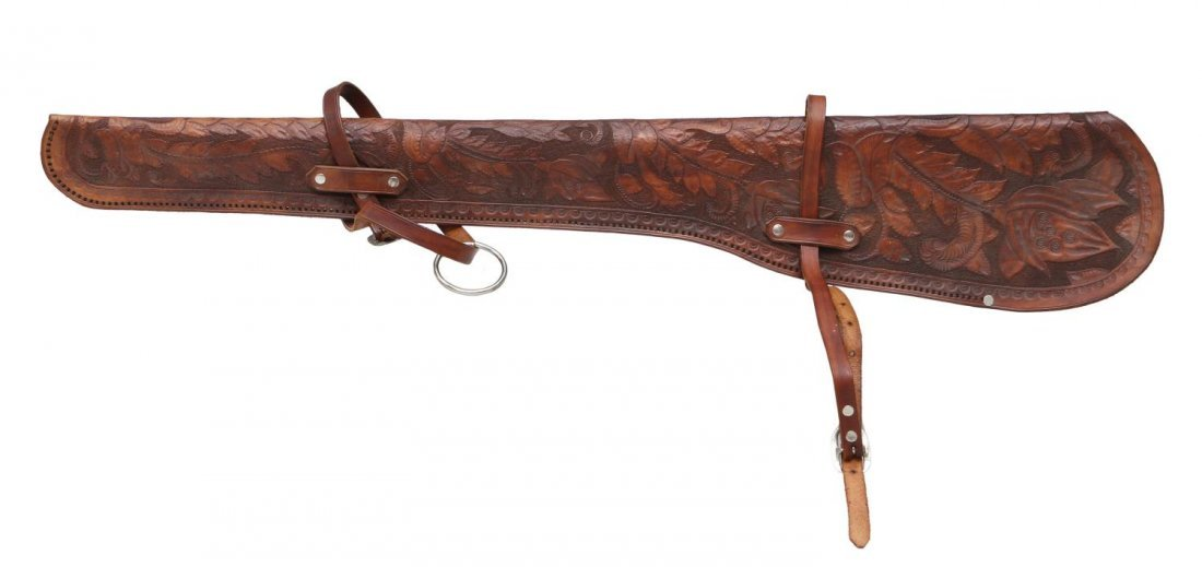 HIGHLY TOOLED WINCHESTER 94 RIFLE LEATHER SCABBARD