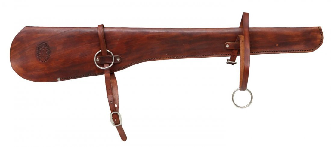 HIGHLY TOOLED WINCHESTER 94 RIFLE LEATHER SCABBARD - 2