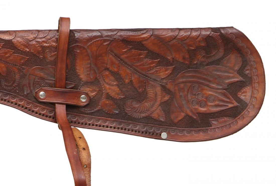 HIGHLY TOOLED WINCHESTER 94 RIFLE LEATHER SCABBARD - 3
