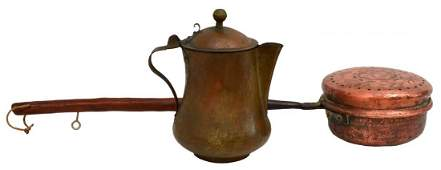 (2) CONTINENTAL COPPER BED WARMER & COFFEE POT