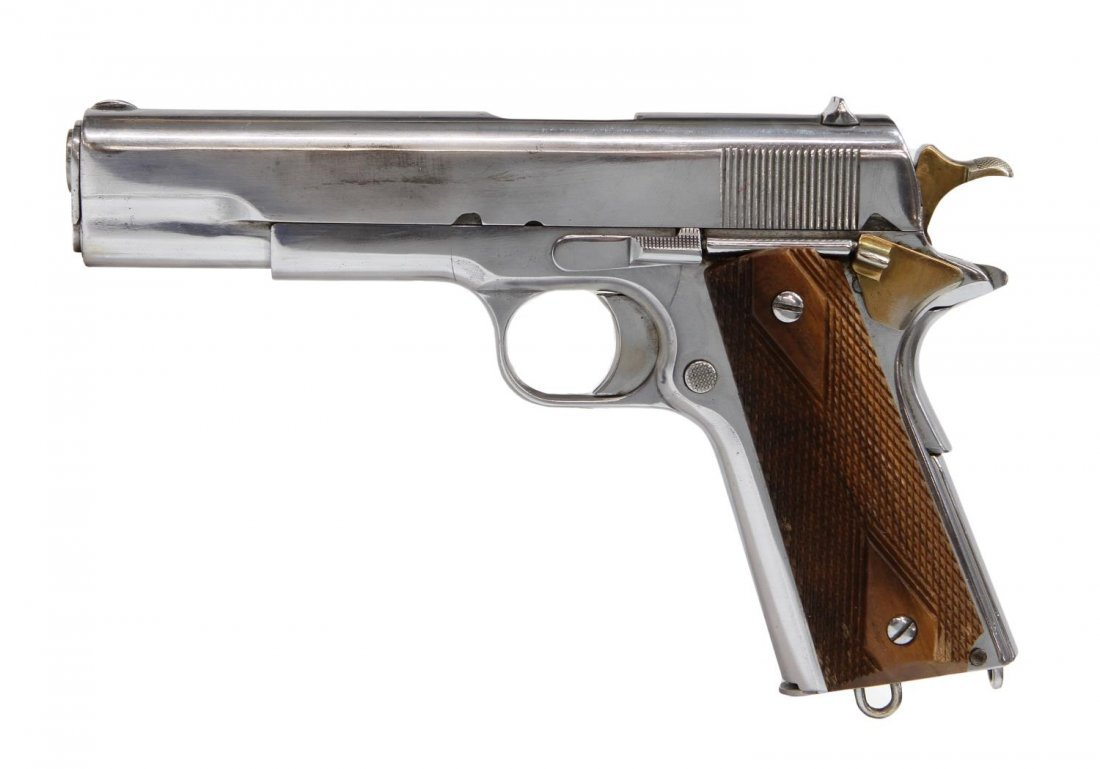 CHROME PLATED PISTOL, COLT 1911 .45 STYLE,