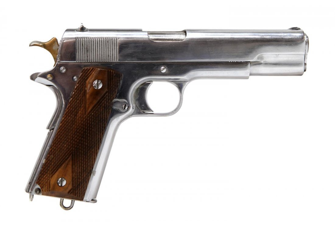 CHROME PLATED PISTOL, COLT 1911 .45 STYLE, - 3