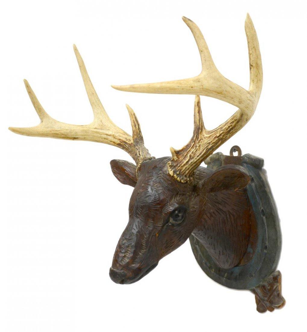 FOLK ART CARVED DEER HEAD WITH ACTUAL ANTLERS