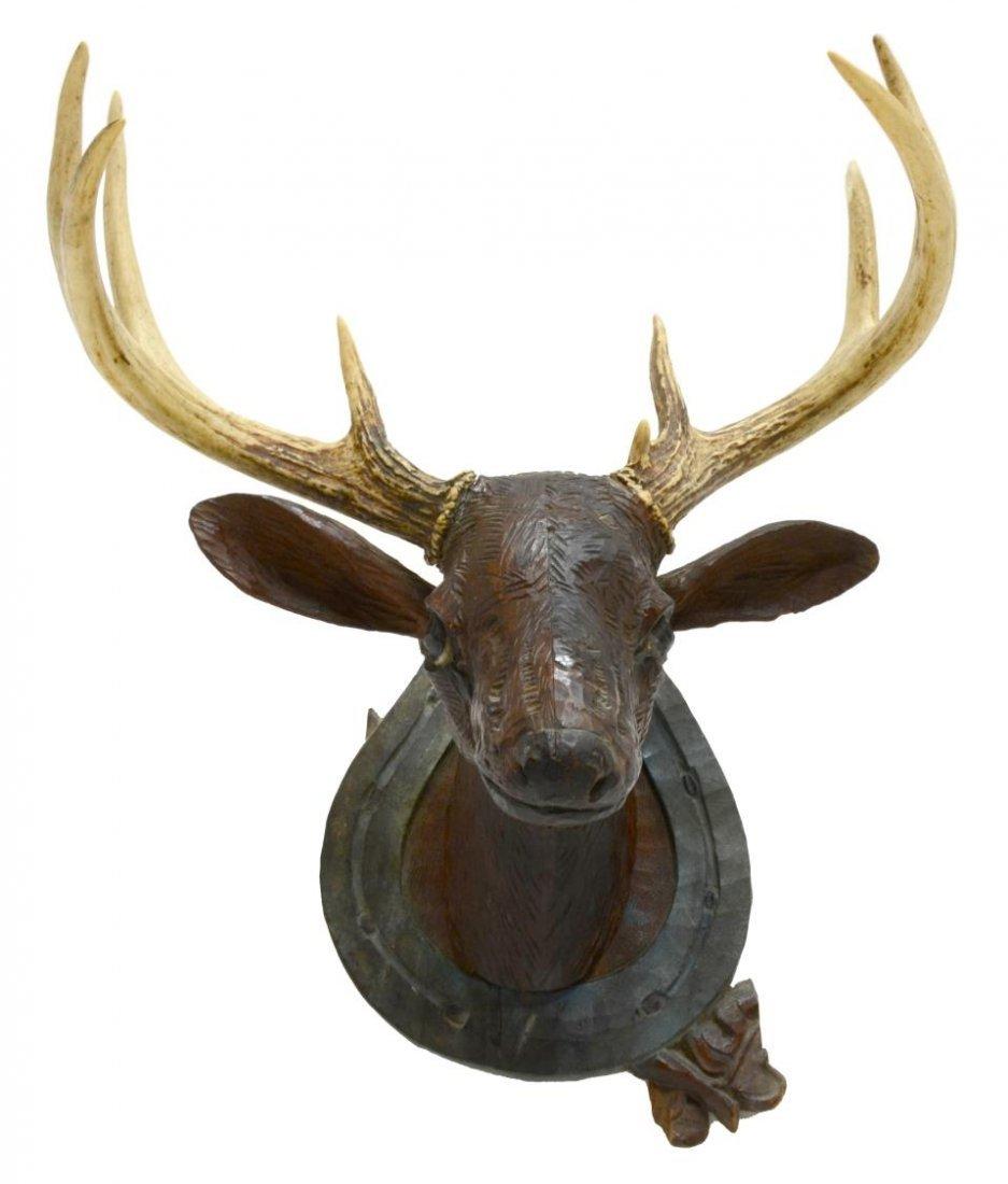FOLK ART CARVED DEER HEAD WITH ACTUAL ANTLERS - 2