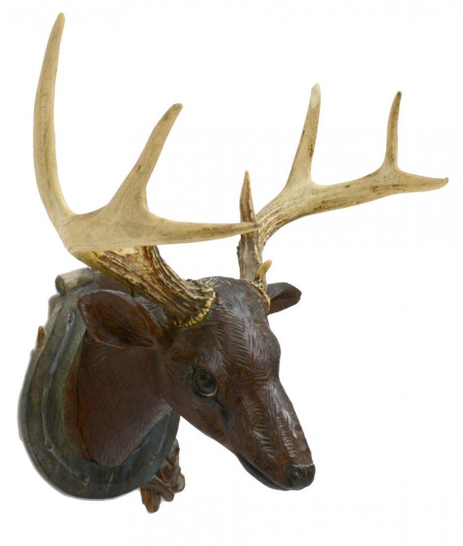 FOLK ART CARVED DEER HEAD WITH ACTUAL ANTLERS - 3