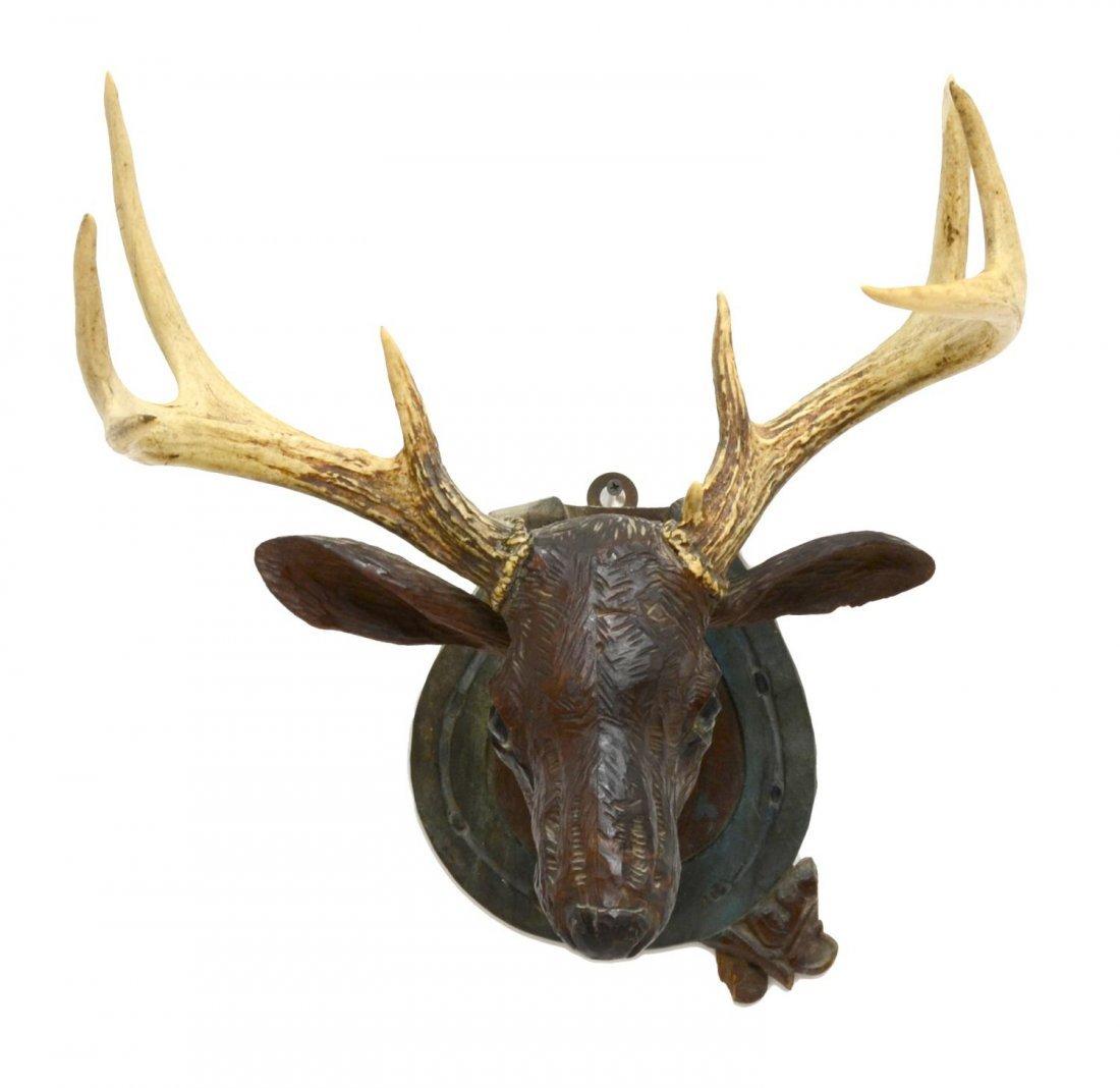 FOLK ART CARVED DEER HEAD WITH ACTUAL ANTLERS - 4