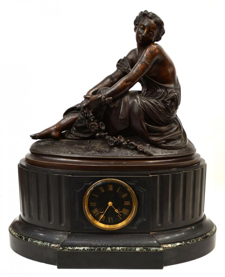 ANTIQUE FRENCH FIGURAL CLOCK ON MARBLE, JAPY WORKS