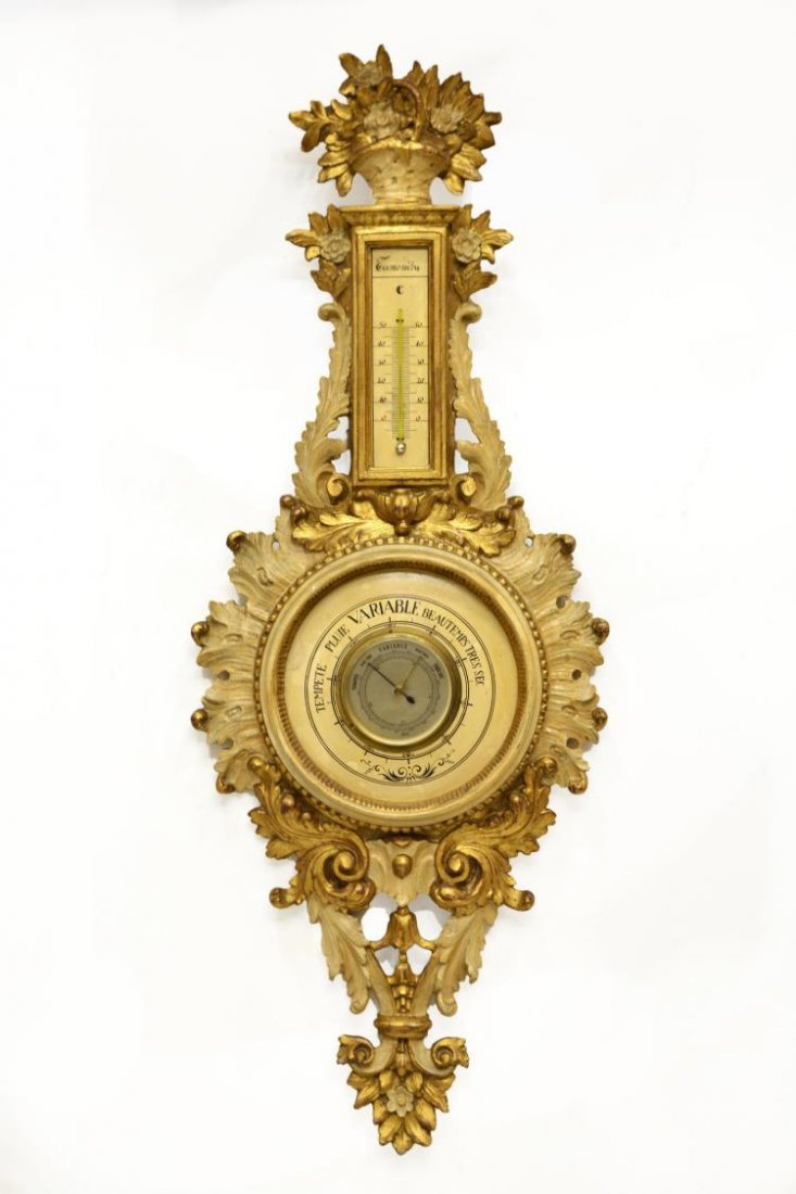 FRENCH LOUIS XV STYLE GILTWOOD BAROMETER