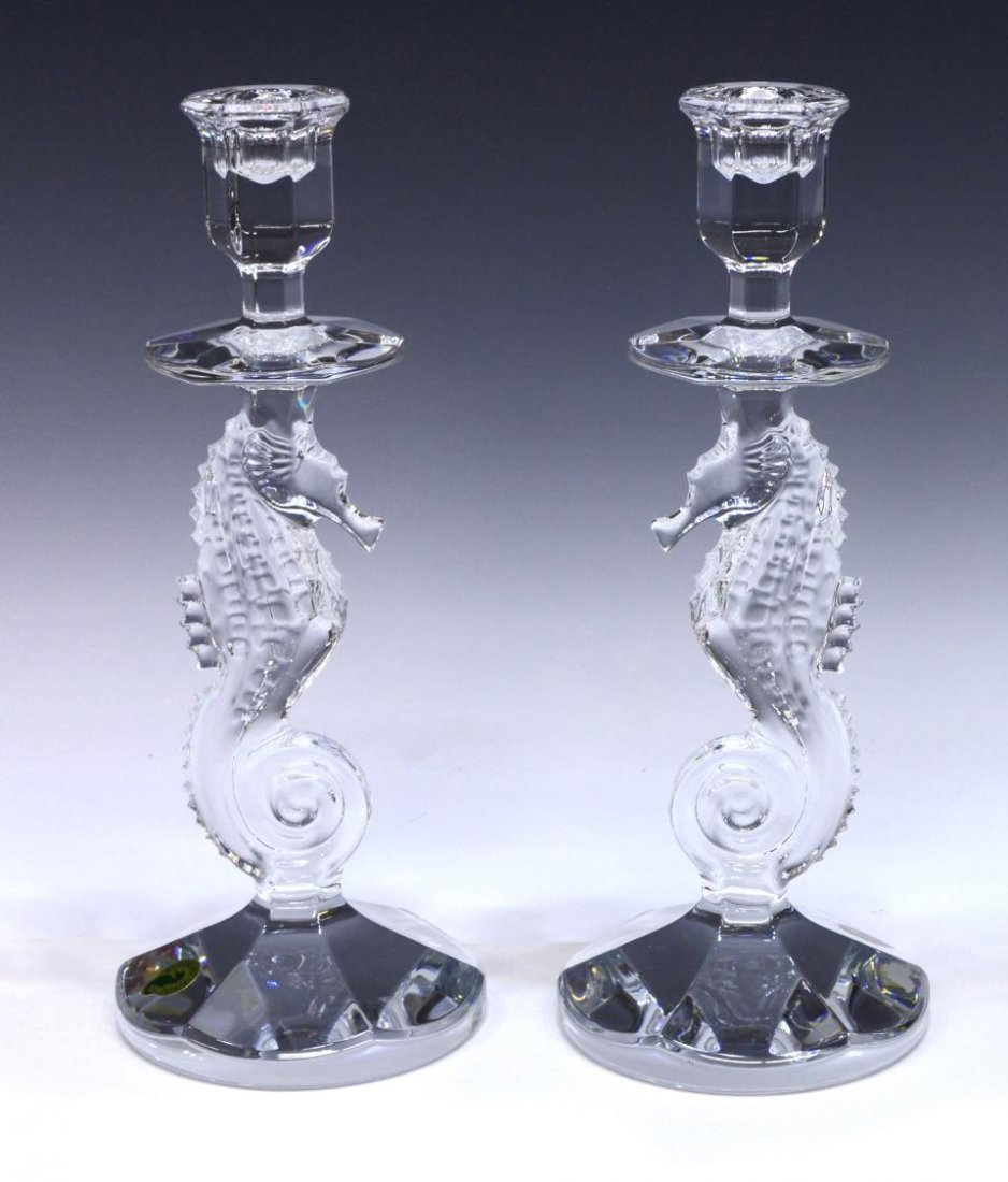 (2) WATERFORD ART CRYSTAL SEAHORSE CANDLESTICKS