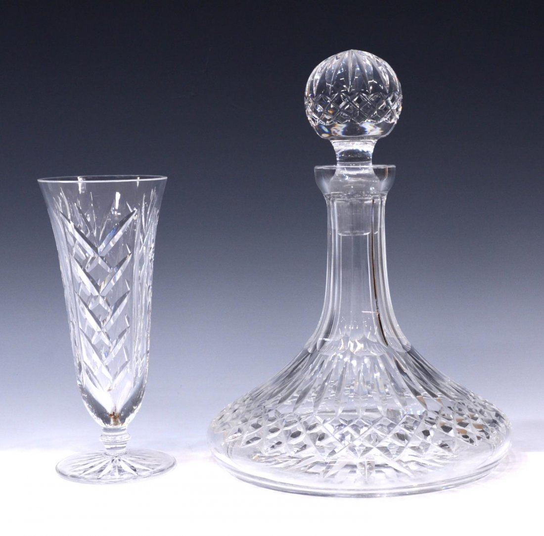 (2) WATERFORD CRYSTAL SHIPS DECANTER & VASE