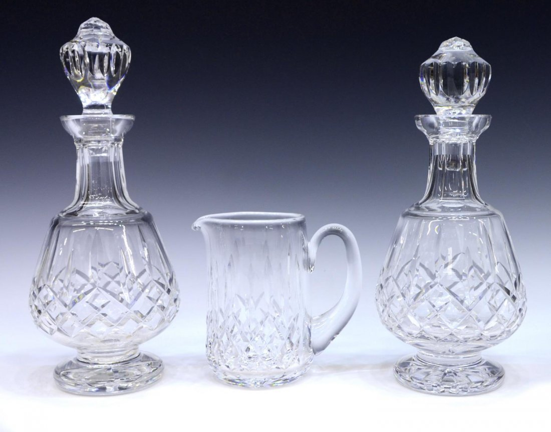 (3) WATERFORD CRYSTAL LISMORE DECANTERS & PITCHER