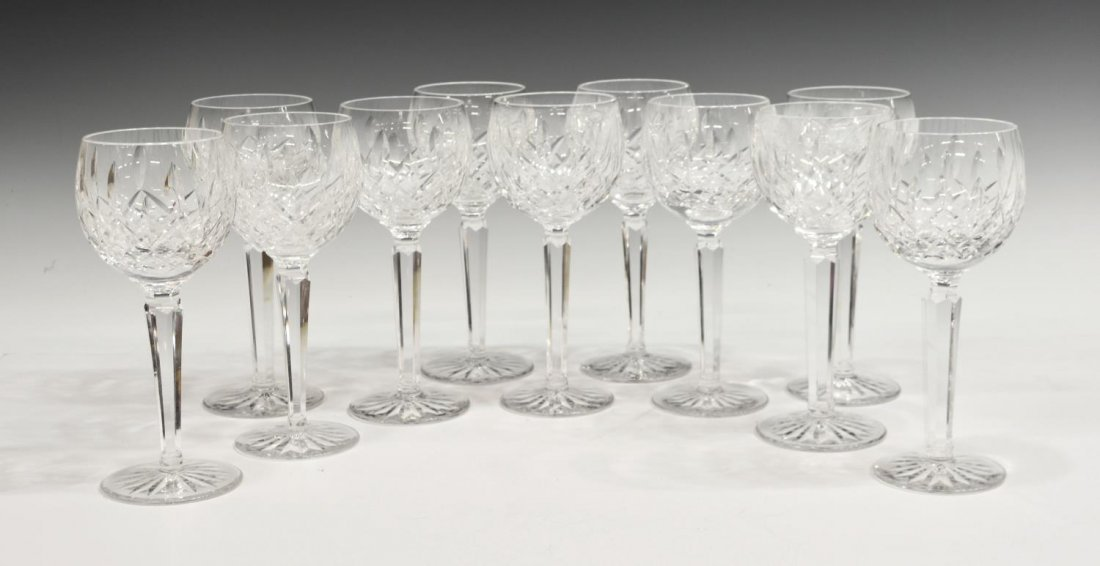 (11) WATERFORD LISMORE CUT CRYSTAL WINE GOBLETS