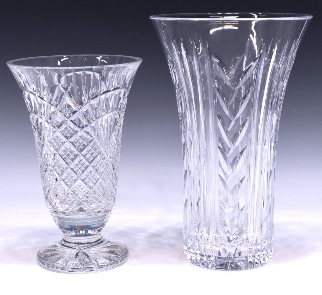 (2) LARGE WATERFORD ART CRYSTAL TABLE VASES