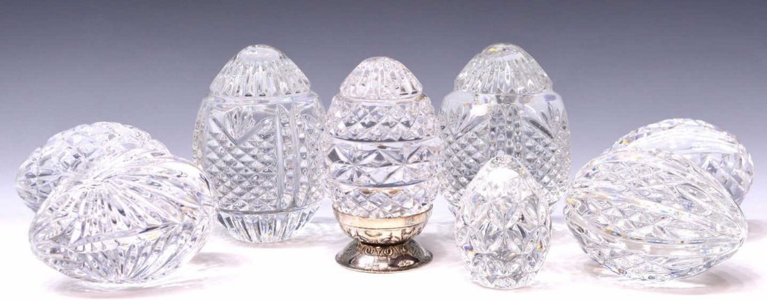 (8) WATERFORD CUT CRYSTAL EGG FORM PAPERWEIGHTS