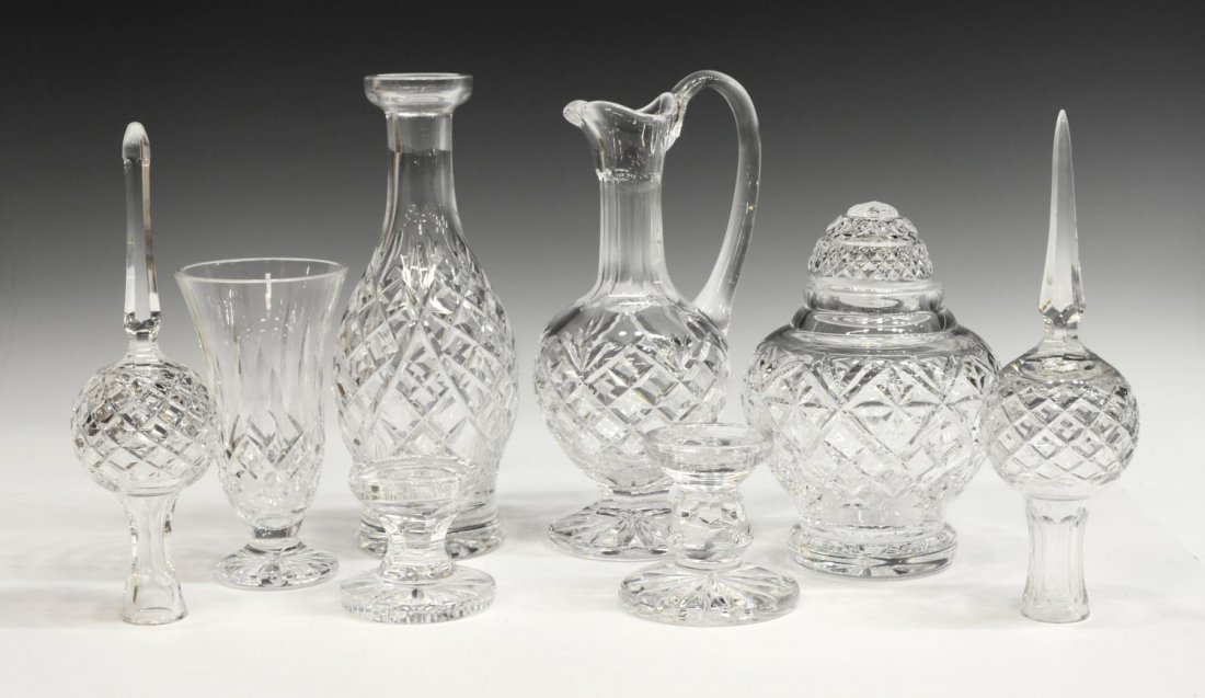 (8) WATERFORD CUT CRYSTAL CABINET & TABLE ITEMS
