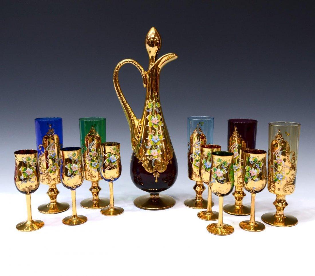 (12) ITALIAN MURANO GILDED COLORED GLASS DRINK SET