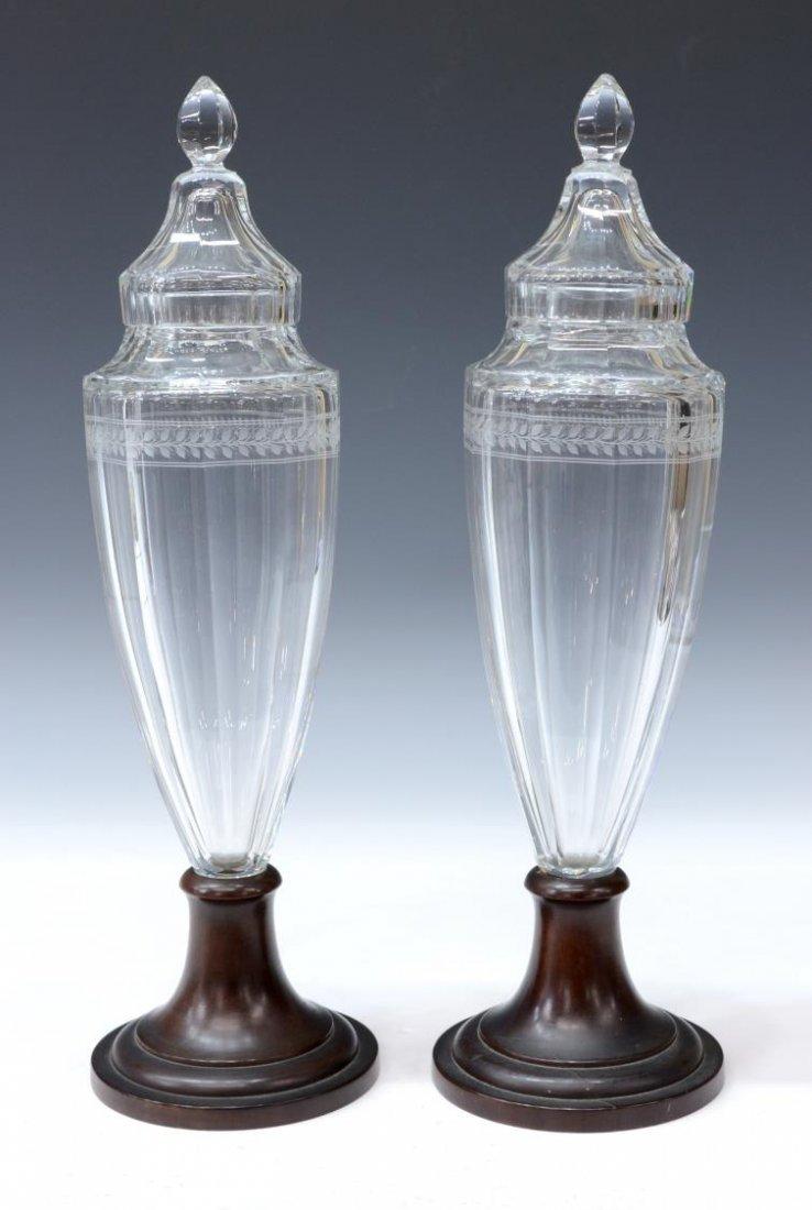 (2) FINE PANELED AND CUT GLASS PEDESTAL URNS