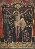 ANTIQUE RELIGIOUS PAINTING CRUCIFIED CHRIST 18TH C