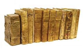 (12) ANTIQUE SPAIN VELLUM CLAD BOOKS, 16TH-18TH C.