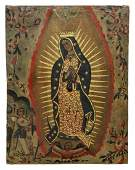 RELIGIOUS PAINTING, VIRGIN OF GUADALUPE, 18TH C.