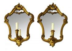 2 LOUIS XV STYLE GILTWOOD MIRRORED WALL SCONCES