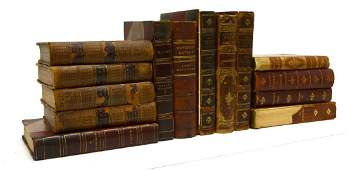 (14) ANTIQUE LEATHER & MARBLIZED BOUND BOOKS