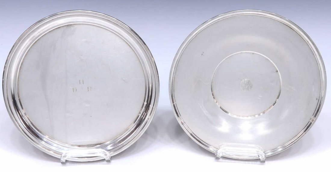 (2) STERLING SILVER TRAYS OF CIRCULAR FORM