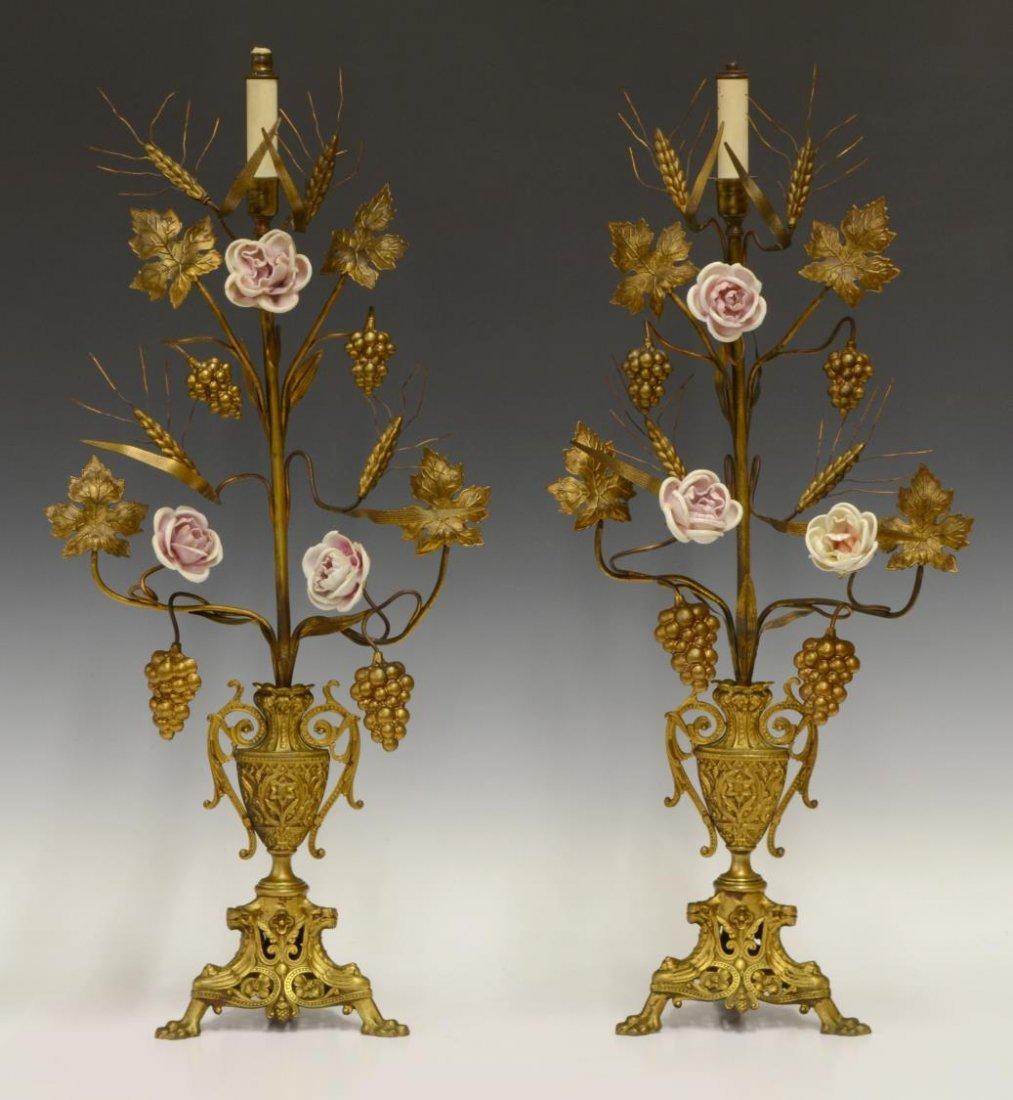 (2) GILT BRONZE ALTAR CANDELABRA LAMPS