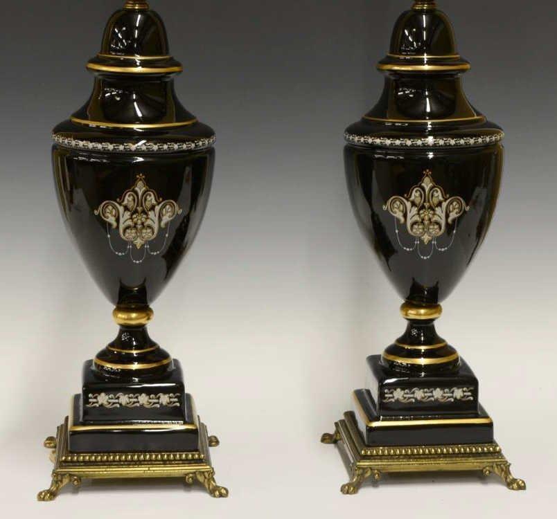 (2) BLACK GLASS GILT DECORATION URN LAMPS