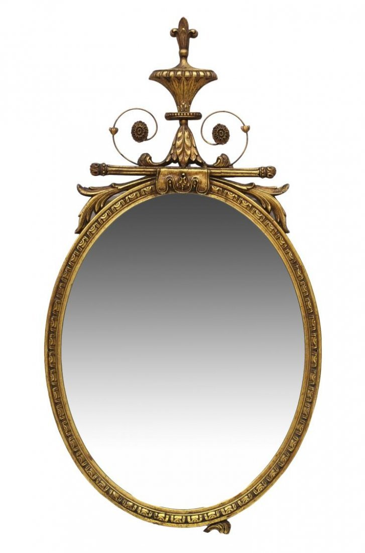AMERICAN FEDERAL STYLE GILTWOOD OVAL WALL MIRROR