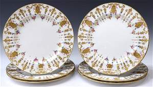 (6) ROYAL CROWN DERBY GILDED FLORAL SERVICE PLATES