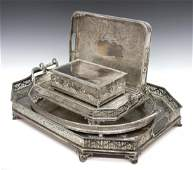 (5) COLLECTION OF SILVERPLATE GALLERY TRAYS & BOX