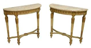 PAIR LOUIS XVI STYLE MARBLE TOP CONSOLE TABLES