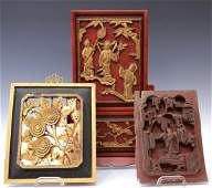 (3) CHINESE CARVED WOOD PANELS, 19TH C.
