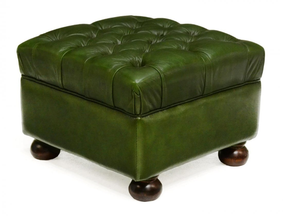 Miraculous Green Leather Ottoman Beatyapartments Chair Design Images Beatyapartmentscom