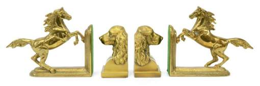 2 PAIR BRASS HORSE  DOG BOOKENDS