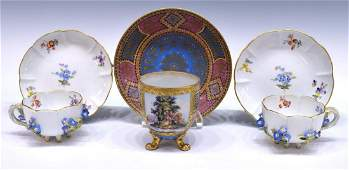 MEISSEN FLORAL ENCRUSTED  PAINTED CUPS  SAUCERS