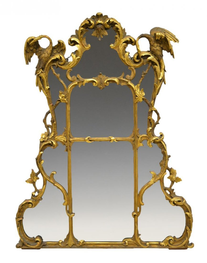 """FRENCH LOUIS XV STYLE GILT WOOD WALL MIRROR, 57""""H"""