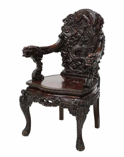 - HIGHLY CARVED CHINESE ROSEWOOD DRAGON CHAIR