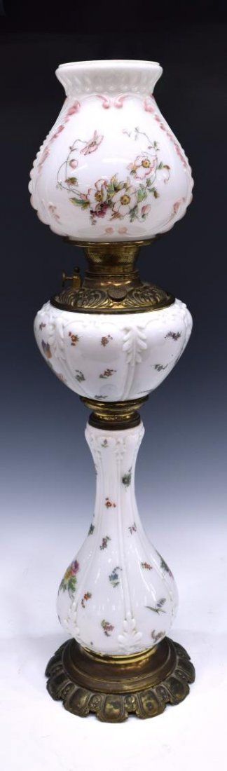 VICTORIAN FLORAL PAINTED BANQUET PARLOR LAMP