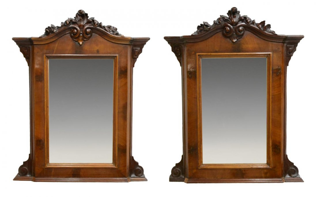 (2) VICTORIAN CARVED & BEVELED HANGING MIRRORS