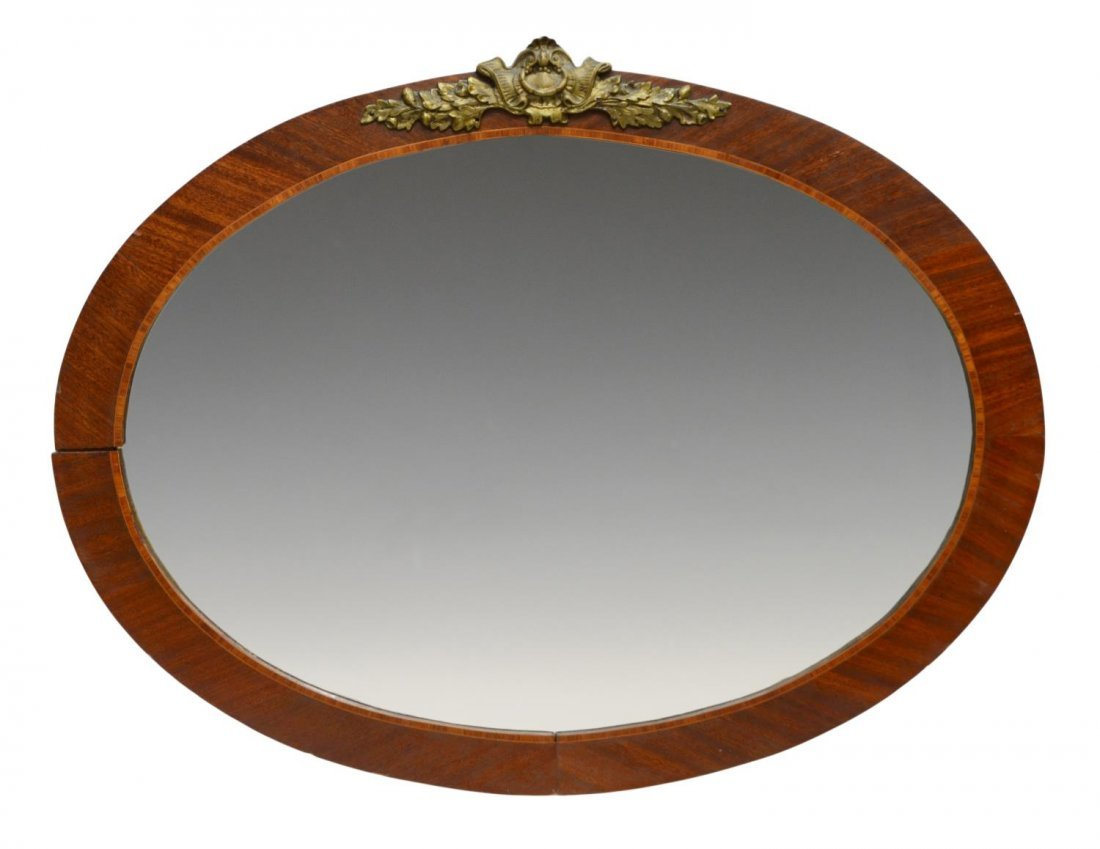 VICTORIAN OVAL FORM WALL MIRROR WITH BRONZE MOUNT