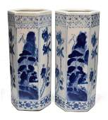 2 CHINESE BLUE  WHITE PORCELAIN HAT STANDS