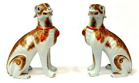2 MOTTAHEDEH PORCELAIN SCULPTURES SEATED DOGS