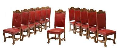 12 FRENCH LEATHER UPHOLSTERED DINING CHAIRS
